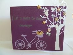 Get well card for someone who fell off her bike. Memory Box Tree and Bike