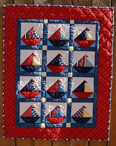 Ships Ahoy Sailboat Baby Quilt Pattern for PDF by Pipersgirls Quilt Baby, Sailboat Baby Quilt, Nautical Quilt, Baby Quilt Patterns, Nautical Theme, Baby Quilts For Boys, Vintage Nautical, Applique Patterns, Quilting Projects