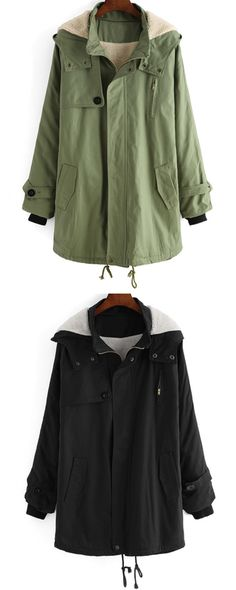 Black & Green Hooded Long Sleeve Pockets Loose Coat Winter styles, give you warmth and comfort. shein.com
