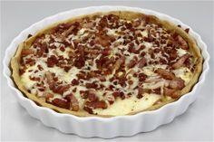 Fransk Ostetærte (Quiche Lorraine) 4 Quiche Lorraine, Apple Pie, Bacon, Brunch, Pizza, Dinner, Desserts, Dining, Tailgate Desserts
