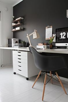 Home office - may be too girly for hubs! workspace, black room, home office, scandinavian interior, stylizimo Home office design - Home and . Home Office Space, Office Workspace, Home Office Design, Home Office Decor, House Design, Office Ideas, Office Designs, Workspace Design, Men Office