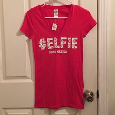 VS pink #Elfie t-shirt NTW! It doesn't fit me :( size xs but can fit small as well. I'm open to trades and offers! PINK Victoria's Secret Tops Tees - Short Sleeve