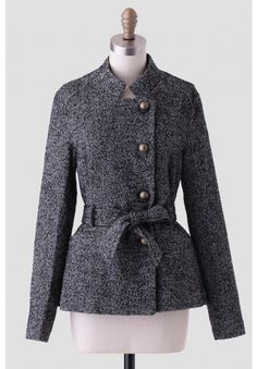 Military style coat with herringbone pattern and the boldest gold buttons.