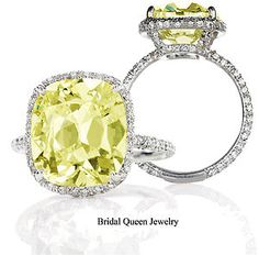 2.27 Carat Fancy Canary Yellow Cushion Modified Diamond Engagement 18k Ring VS1