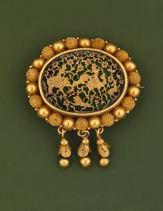 Brooch, 19th century  India  Gold, enamel