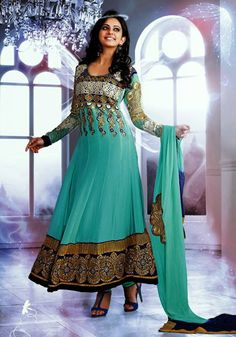 USD 88.16 Rakul Preet Singh Blue Embroidered Ankle Length Anarkali Suit 35991