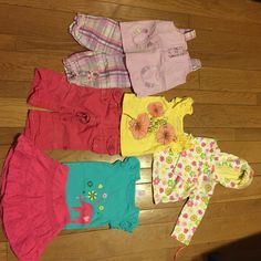 """Girls 12 month bundle B.t. Kids 2 piece outfit, Cherokee """"love is everywhere"""" tank, Gap pants that can be rolled to capris, Circo onesie with Arizona eyelette skirt, and bumblebee Carters hoodie. Other"""