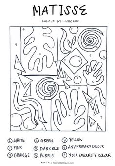 Henri Matisse Art Lesson Colouring Sheet for Kids - Simple, easy and super fun art projects for any young art students with #Printable sheets and colouring pages. @FeedingStickFigures shares simple art lesson and project ideas, fun worksheets, colouring sheets, and printables for kids to do at home. Have fun making artwork inspired by Famous #Artists | Activities for #kids at home | Easy home activities for kids | Famous Artists Quotes | Arts and crafts