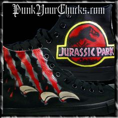 Jurassic Park Trilogy, Jurassic Movies, Jurassic World 2015, Walk This Way, Cool Items, Custom Shoes, Chuck Taylor Sneakers, Bff, High Top Sneakers