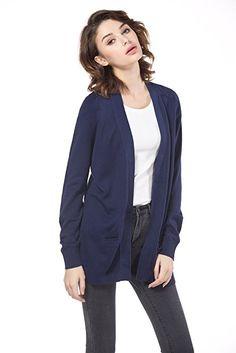 KNITBEST Women's Long Sleeve Boyfriend Pocket Cardigan (Small, Navy) at Amazon Women's Clothing store: