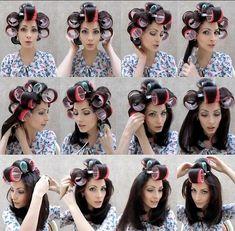 tumblr_mdzu645SBo1qkbe39o1_1280 | Darlene | Flickr Large Hair Rollers, Sleep In Hair Rollers, Hair Curlers Rollers, How To Use Curlers, Medium Hair Styles, Curly Hair Styles, Velcro Rollers, Pose, Permed Hairstyles