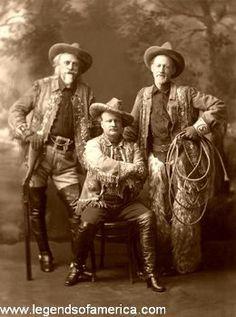 rodeo 1910 | From Left to Right: William F. Cody, Pawnee Bill, Buffalo Jones