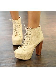 b324c94c24b7a9 Great Apricot Lace Up Chunky Heel Ankle Boots for Winter Lace Ankle Boots