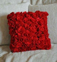 How about a rose pillow to accentuate your home? This is just one of the beautiful flower's of the month! Pillow Crafts, Diy Pillows, Throw Pillows, Cushions, Red Decorative Pillows, Pillow Ideas, Saint Valentine, Valentines, Best Decor