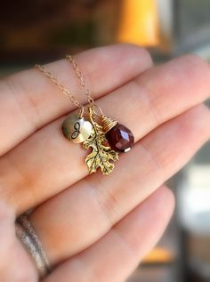 Lovely bridesmaid gift/jewelry for Fall wedding. Personalized Gold Leaf Necklace, Gemstone and Initial Charm, Garnet or Custom Birthstone.