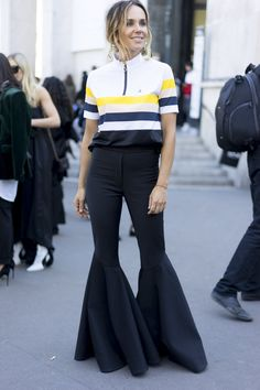 After weeks on the road, the fashion set touched down in Paris for the final lap of Fashion Month — and they saved their best looks for last. Summer Outfits For Teens, Spring Street Style, Wide Leg Jeans, Paris Fashion, Bell Bottoms, Bell Bottom Jeans, Fashion Outfits, Fashionable Outfits, Women Wear