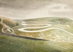 """""""""""The paths of the South Downs compel Ravilious's imagination; so does the light of the Downs: falling as white on green, possessing the combined radiance of chalk, grass blades & a proximate sea. Cuckmere Haven by the artist Eric Ravilious, born OTD, Landscape Art, Landscape Paintings, Classic Paintings, Oeuvre D'art, Painting & Drawing, Drawing Drawing, Les Oeuvres, Illustrators, Giclee Print"""