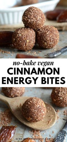 These delicious low-fat cinnamon energy balls require just 4 simple ingredients to make: medjool dates oats maple syrup and cinnamon. Loads of cinnamon flavour pairs perfectly with sea salt and hints of caramel from fresh soft medjool dates. Real Food Recipes, Vegan Recipes, Snack Recipes, Dessert Recipes, Yummy Food, Cheese Recipes, Peanut Butter Energy Bites, No Bake Energy Bites, Vegan Mac And Cheese