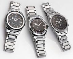 The new Omega 1957 Trilogy Limited Edition watches for Baselworld 2017 with images, price, background, specs, & our expert analysis. Dream Watches, Cool Watches, Watches For Men, Wrist Watches, Rolex, Omega Speedmaster, Fancy Clock, Omega Aqua Terra, Seamaster 300