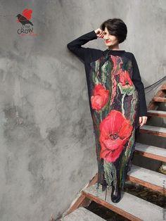 """Купить платье """"Маковое"""" - ярко-красный, маки, красное и черное, платье, теплое платье, Валяние"""