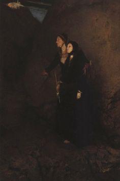 .:. Γύζης Νικόλαος – Gyzis Nikolaos [1842-1901] Το τάμα_2 Name Paintings, Greek Paintings, 10 Picture, Greek Art, Greece, Moonlight Painting, Painters, Darkness, Collections