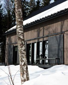 Great screens to close down the building.    Finnish home created by two designers, Ulla Koskinen and Sameli Rantanen as a prototype for construction company Kannustalo.