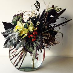 Dark begonia arrangement.