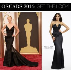 Charlize Theron Oscar 2014 Dress vs Camille La Vie Satin Peplum Prom Dress