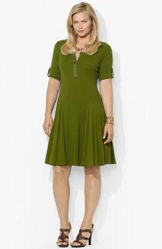 30fe8390be27c Lauren Ralph Lauren Henley Fit   Flare Dress (Plus Size) Fit Flare Dress