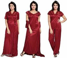 Nightdress Divine Stylish Women Nightdresses Fabric: Satin Sleeve Length: Short Sleeves Multipack: 5 Sizes: Free Size  L(Bust Size: 38 in, Length Size: 38 in)  Country of Origin: India Sizes Available: Free Size, L   Catalog Rating: ★3.9 (552)  Catalog Name: Inaaya Alluring Women Nightdresses CatalogID_3002841 C76-SC1044 Code: 964-15075973-2121