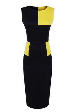 Navy Contrast Yellow Sleeveless Bodycon Dress US$39.60