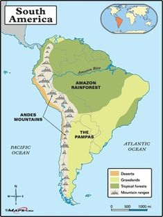 Map of South America with Capitals | This & That | South america map ...