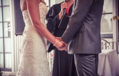 Bride and groom exchanging vows | Stunning vintage wedding photography by www.newvintagemedia.ca