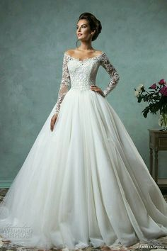 Modest tulle ball gown wedding dresses with long sleeves
