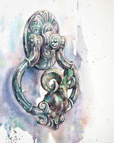 Artist Kristina Gavrilova (@xtina_gavrilova_art) в Instagram: «Do your want more video painting of this picture? The door knocker #aquarell #art #painting #watercolor #watercolour #sketch  #paint  #drawing #sketching #sketchbook #travelbook #archisketcher #sketchaday #sketchwalker #sketchcollector  #traveldiary #topcreator #usk  #urbansketch #urbansketchers #скетчбук #скетч #скетчинг #pleinair #aquarelle #watercolorsketch #usk #architecture #painting #illustration