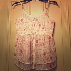 Sheer floral tank Spaghetti strap, button up tank with floral design Lauren Conrad Tops Tank Tops