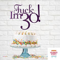 Fuck I'm 30 Cake Topper | 30th Birthday | Birthday Cake Topper | 30th Cake Topper  Add some sparkle to your celebration cake with our Fuck I'm 30 cake topper.  Our cake toppers are made from glitter cardstock, double sided with a acrylic cake topper stick. The Fuck I'm 30 cake topper measure 17cm wide x 15cm high. 30 Cake Topper, Acrylic Cake Topper, Birthday Cake Toppers, 30th Cake, Glitter Cardstock, Celebration Cakes, 30th Birthday, Pastel, Sparkle