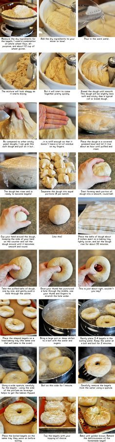 Homemade Bagels (Step-by-Step)    ** For raisins or chocolate chips, knead them in at the very end by hand after the dough has been kneaded most of the way already.