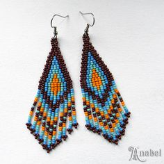 Brown Orange Blue and Turquoise Native American by Anabel27shop, $16.00