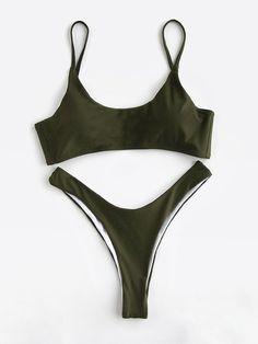 ¡Cómpralo ya!. Army Green High Leg Bikini Set. Green Bikinis Sexy Vacation Push Up Polyester YES Swimwear. , bikini, bikini, biquini, conjuntosdebikinis, twopiece, bikini, bikini, bikini, bikini, bikinis. Bikini de mujer color verde oliva oscuro,verde de SheIn.