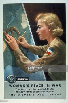 Women's Army Corps (WAC) recruitment poster entiled 'Woman's Place In War' states that 'The Army of the United States has 239 kinds of jobs for women' and highlights one of them, that of 'Topographic Draftsman,' accompanied by an illustration of a uniformed woman at work on a map, early to mid 1940s.