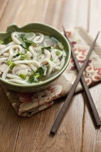 Easy Udon Miso Noodle Soup : 1 cup water, 3 cups chicken or vegetable stock, 1/2 cup mushrooms, thinly sliced, 2 cups baby spinach leaves or baby bok choy, 12 ounces fresh udon noodles, cooked according to package directions and drained, 5 scallions, diced & 2 tablespoons white miso paste.. Pin  it for directions !!