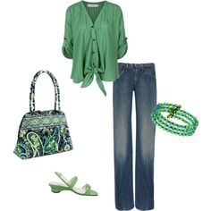 really love the bag and the kelly green, not sure about the tie shirt but like the look