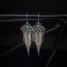 The Fallen Sky earrings by Iza Malczyk - unique hand crafted silver design with turquoise