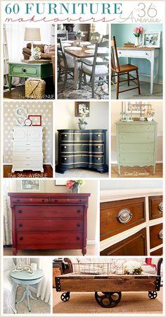 60 DIY Furniture Makeovers - Futura Home Decorating Refurbished Furniture, Repurposed Furniture, Furniture Makeover, Painted Furniture, Chair Makeover, Metallic Furniture, Furniture Projects, Furniture Making, Home Projects