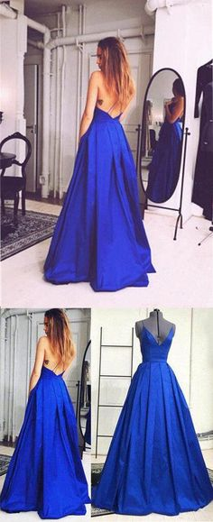 Prom dresses, backless royal blue party dresses, cheap v-neck prom dresses, simple spaghetti long evening gowns