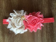 Mermaid Baby headband coral and cream by Thelittlearrowshop