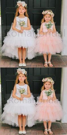 Round Neckline Hi-line Tulle Pixie Tutu Dresses, Cheap Flower Girl Dresses, FG015