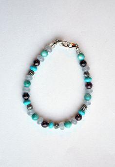 Aqua, Gray, & Deep Purple 7 3/8-inch Beaded Bracelet - pinned by pin4etsy.com