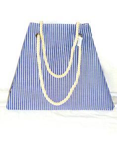 Beach Bag / Tote – Fabric Handbag – Blue and « Clothing Impulse